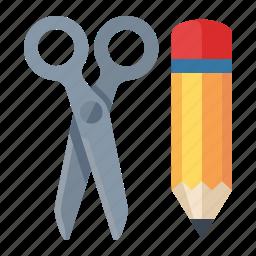 edit, management, pencil, scissors, web content icon