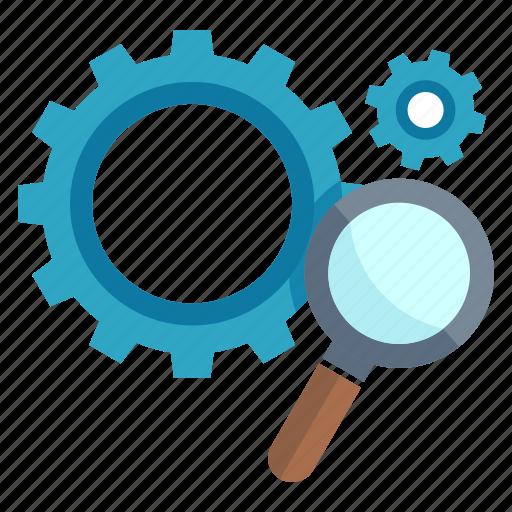 gear, optimization, search engine, seo icon