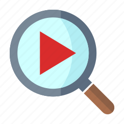 film, magnifier, play, searching, video icon