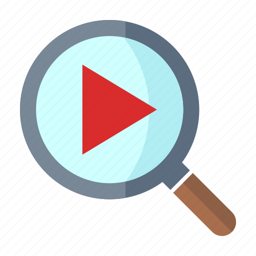 magnifier, play, search video icon