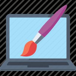 brush, custom, designing, internet, laptop, optimization, paintbrush, web design icon