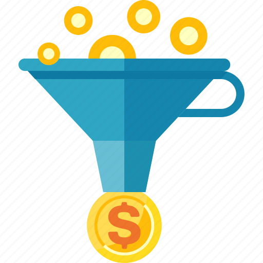 coins, conversion rate, funnel, money icon