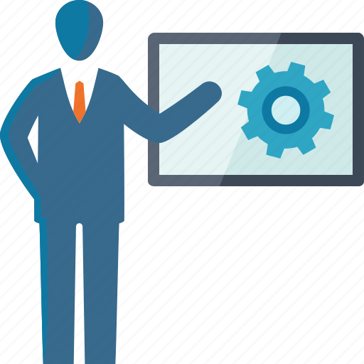 analysis, businessman, presentation, search engine, seo training icon
