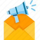 email, envelope, marketing, megaphone, message icon
