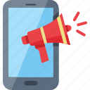 bullhorn, communication, internet marketing, promoting, smartphone icon