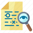 file, magnifier, proofreading, reading, seo icon
