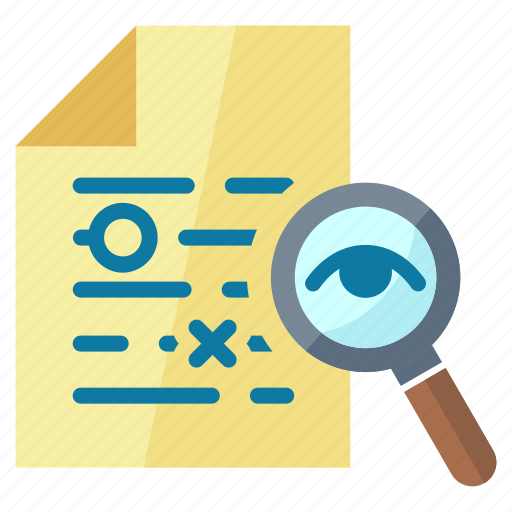 document, eye, file, magnifier, proofreading, reading, search icon