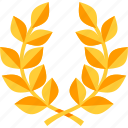 achievement, laurel wreath, victory icon