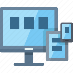 communication, computer, connection, internet, responsive, smartphone, tablet, technology, web design icon