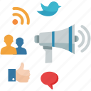 communication, marketing, megaphone, networking, social media icon