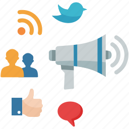 bullhorn, communication, connection, internet, marketing, megaphone, networking, online advertising, rss, social media icon