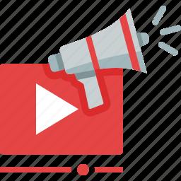 advertising, bullhorn, marketing, megaphone, movie, play, promoting, video icon