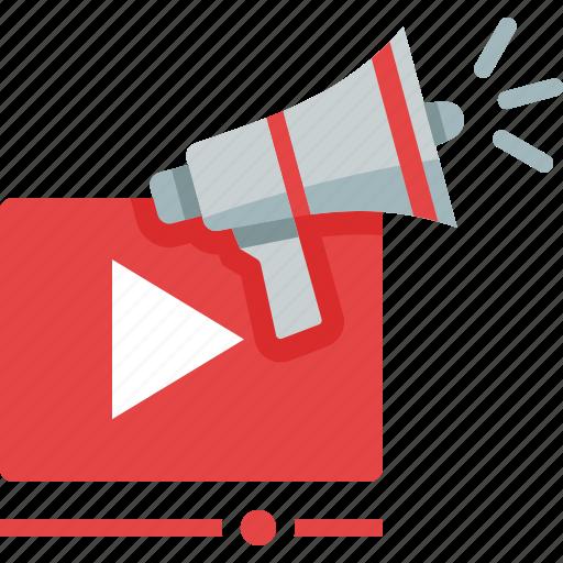 bullhorn, marketing, megaphone, video icon