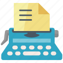 article, submission, typewriter, web content, writing icon
