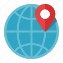 earth, geo, global communication, globe, location, map pin, targeting, worldwide icon