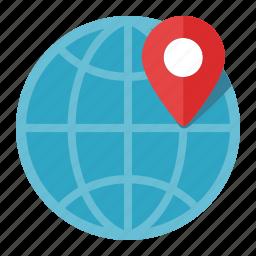 globe, gps, location, map pin, worldwide icon