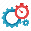 gear, optimization, performance, seo, stopwatch icon
