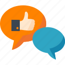 chat, communication, conversation, discussion, like, optimization, seo, social media, speech bubble, talk icon