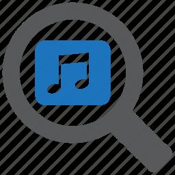 audio, find, magnifier, music, search, sound, volume icon
