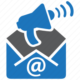email, envelope, horn, mail, marketing, megaphone, message icon