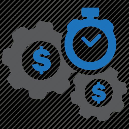 gear, money, optimization, performance, seo, settings, time icon