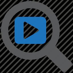 find, magnifier, media, movie, multimedia, search, video icon