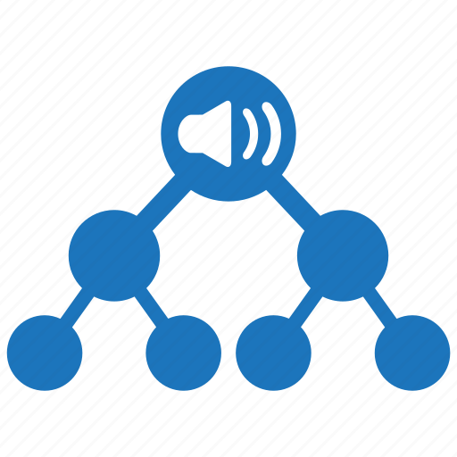 link, loudhailer, marketing, megaphone, seo, tree, viral icon