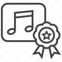 audio, badge, music, quality, ribbon, speaker, volume icon