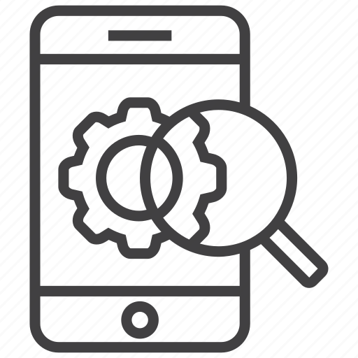 gear, marketing, mobile, phone, search, seo, settings icon