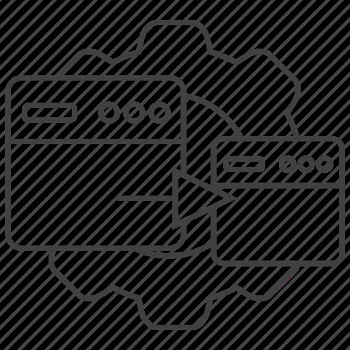 click, gear, landing, optimization, page, site, web icon