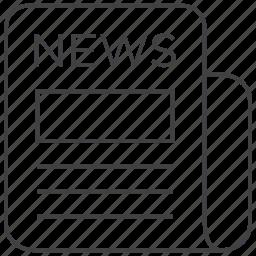 headline, info, information, news, newspaper, press, release icon