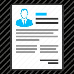 bio data, curriculum vitae, employee, job seeker, letter, profile, resume icon