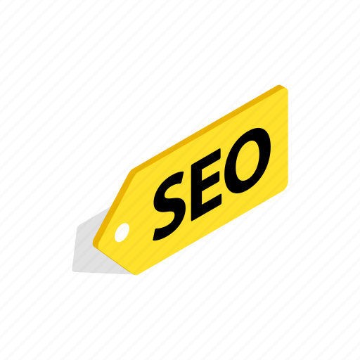 isometric, label, marketing, search, seo, tag, website icon