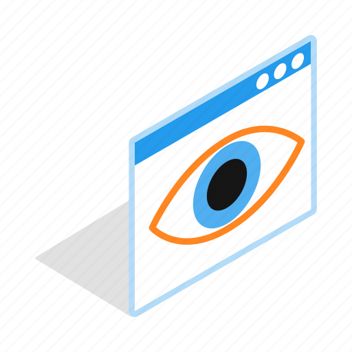 eye, eyeball, human, isometric, look, macro, surveillance icon