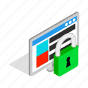 computer, data, file, isometric, lock, padlock, security icon