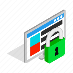 computer, data, file, isometric, lock, padlock, security icon