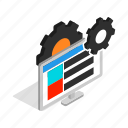 computer, display, gear, isometric, monitor, screen, technology icon