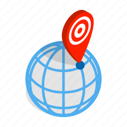 isometric, location, map, mark, marker, pin, pointer icon