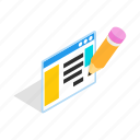 computer, document, file, isometric, page, paper, pencil