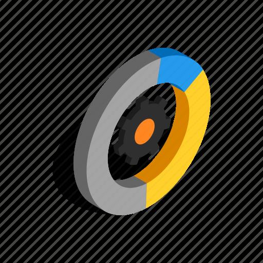 element, engine, gear, isometric, mechanical, technology, wheel icon
