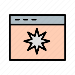 browser, favourite, screen, star, url, web, website icon