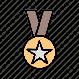 achievement, award, leadership, medal, respect, star icon