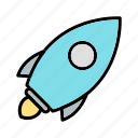 fire, launch, rocket, ship, space, spaceship, speed icon