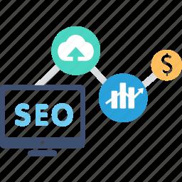 analytics, connection, ecommerce, marketing, network, seo, shopping icon