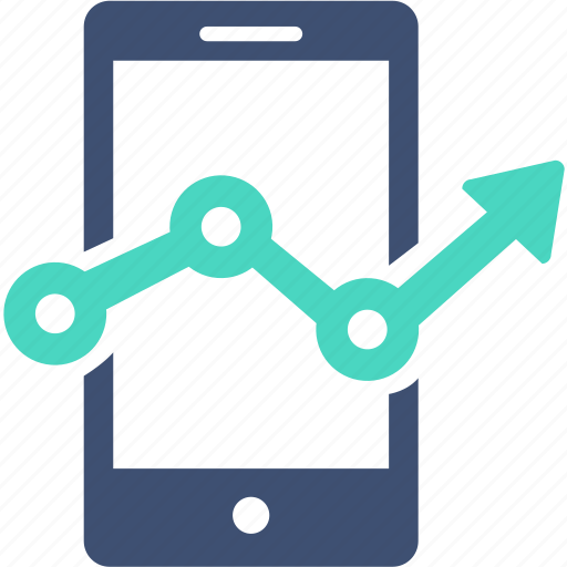 analysis, arrow, chart, currency, device, diagram, stat icon