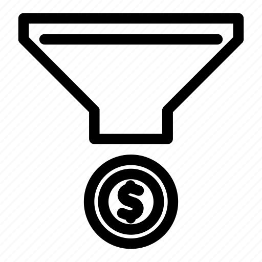 coin, commerce, filter, funnel, money icon