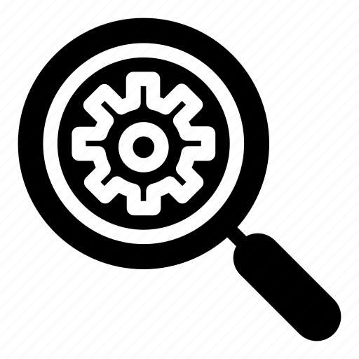 cogwheel, gear, loupe, magnifying glass, search engine, tools and utensils icon