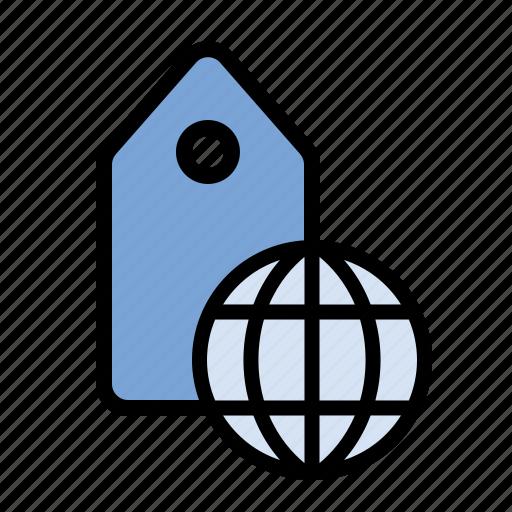 geolocation, globe, international, location, marketing, seo, tagging icon