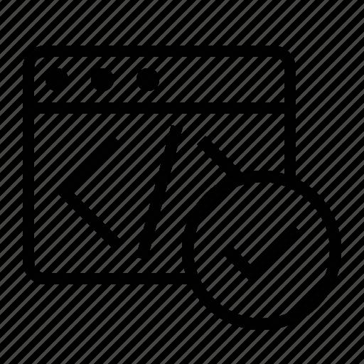 code, marketing, markup, seo, validate, validation, verify icon