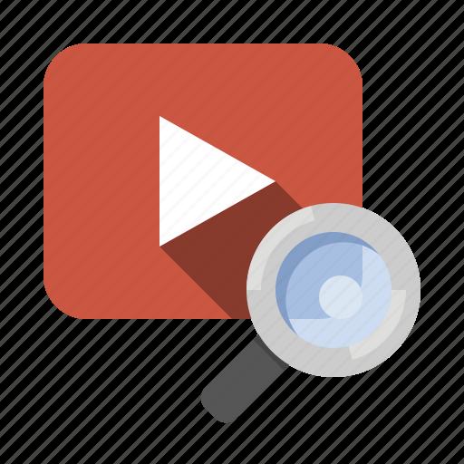 marketing, movie search, search, seo, video, video search icon